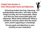 helpful hint number 5 have measurable goals and objectives