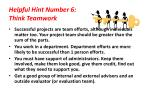 helpful hint number 6 think teamwork