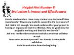 helpful hint number 8 evaluation is impact and effectiveness