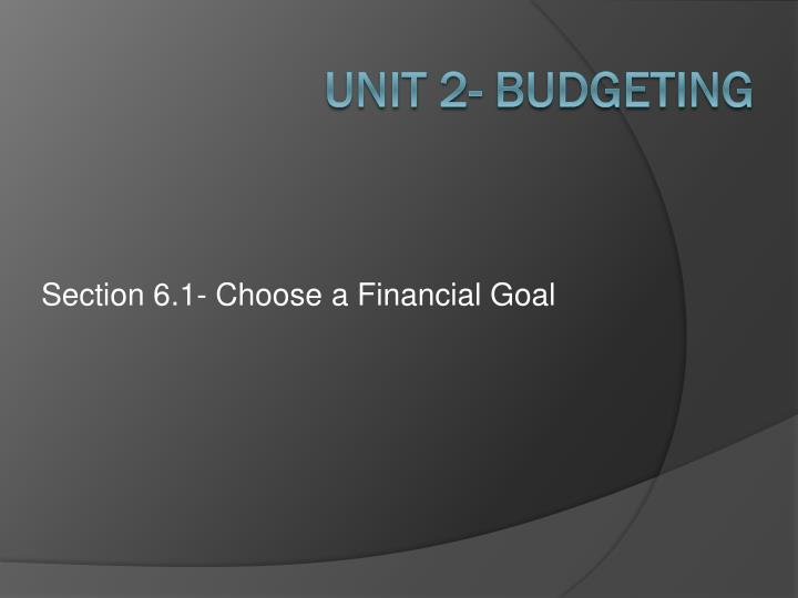 section 6 1 choose a financial goal n.