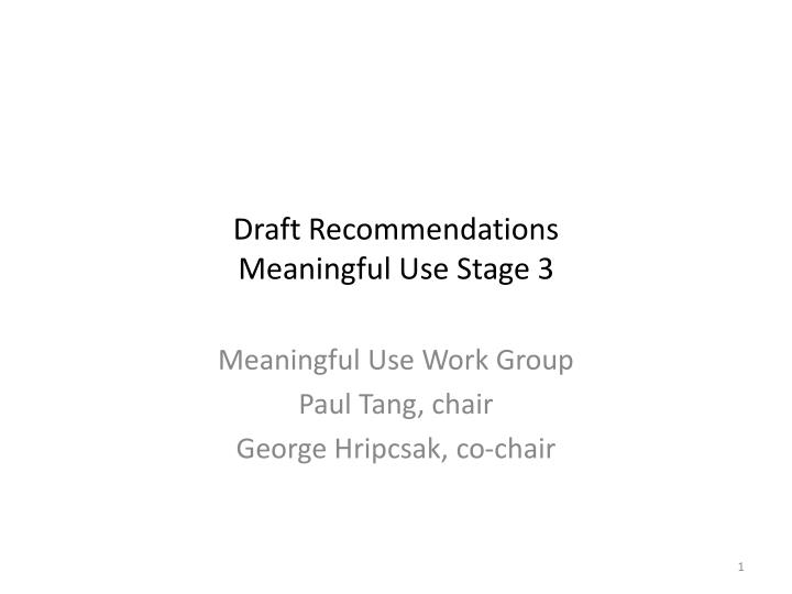 draft recommendations meaningful use stage 3 n.