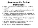 assessment in partner institutions