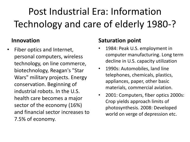 Post Industrial Era: Information Technology and care of