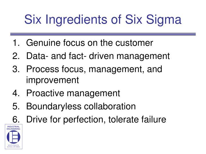 Six Ingredients of Six Sigma