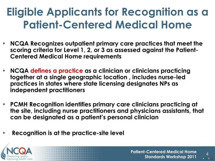 Eligible Applicants for Recognition as a Patient-Centered Medical Home
