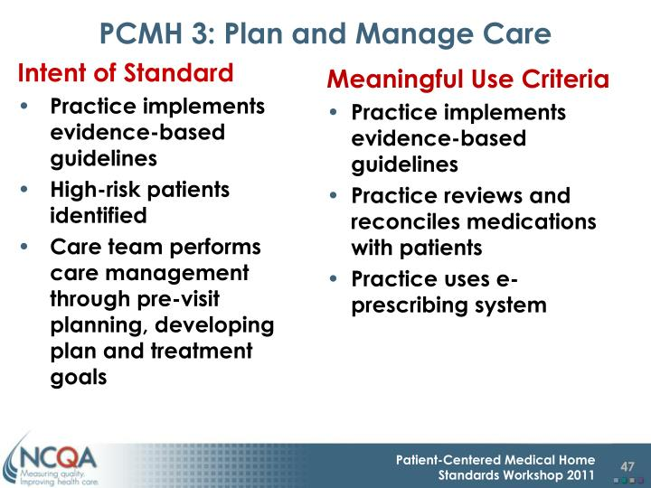PCMH 3: Plan and Manage Care