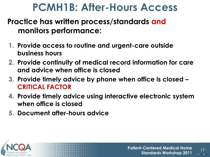 PCMH1B: After-Hours Access