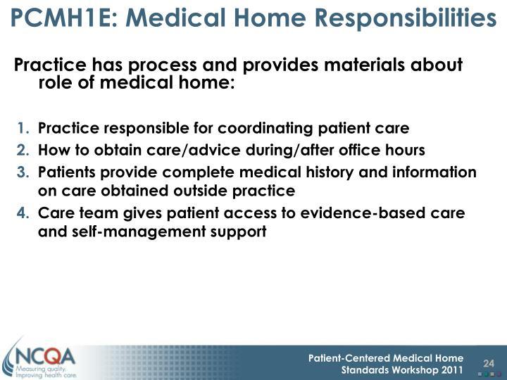 PCMH1E: Medical Home Responsibilities