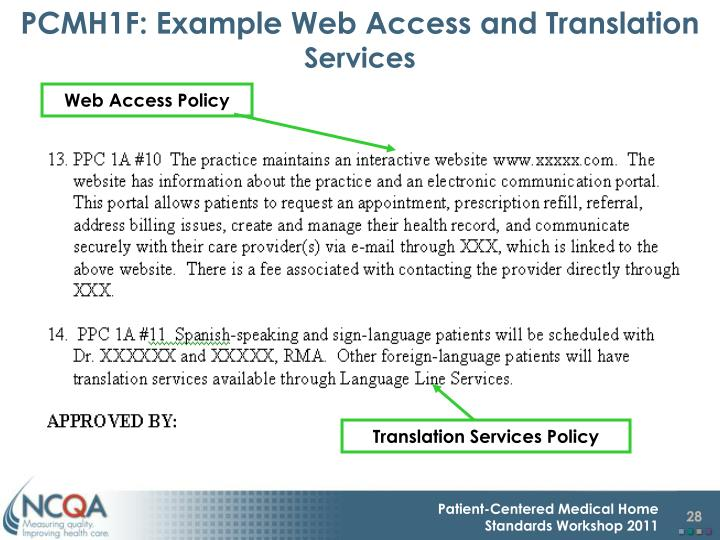 PCMH1F: Example Web Access and Translation