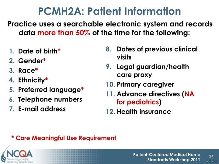 PCMH2A: Patient Information