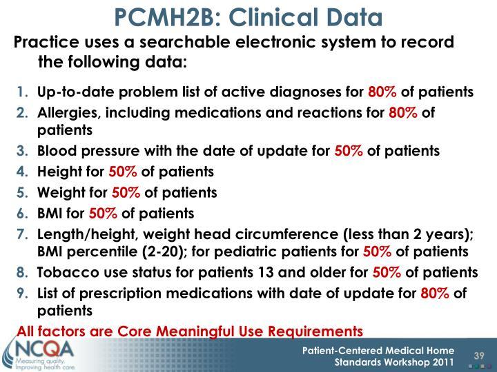 PCMH2B: Clinical Data
