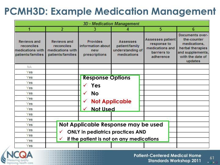 PCMH3D: Example Medication Management