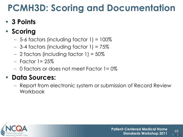 PCMH3D: Scoring and Documentation