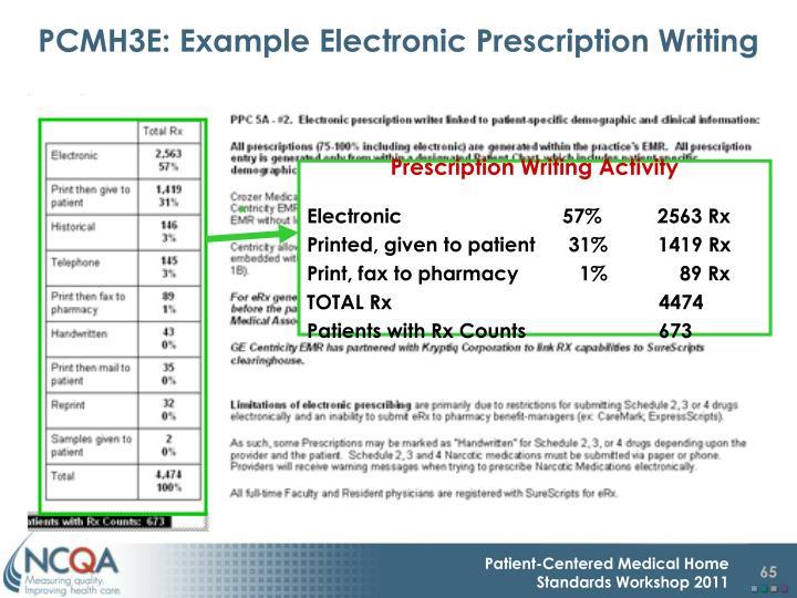 PCMH3E: Example Electronic Prescription Writing