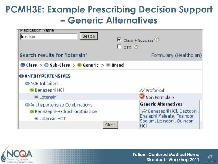 PCMH3E: Example Prescribing Decision Support – Generic Alternatives
