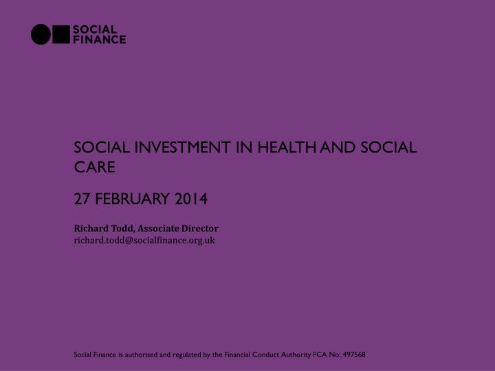 social investment in health and social care n.