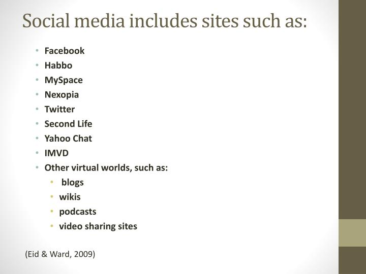 Social media includes sites such as: