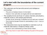 let s start with the boundaries of the current program
