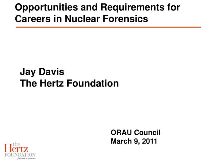 opportunities and requirements for careers in nuclear forensics n.