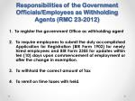 responsibilities of the government officials employees as withholding agents rmc 23 2012