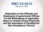 rmc 23 2012 february 14 2012