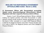 who are the responsible government officials rmo 8 2003 march 3 20032
