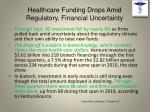 healthcare funding drops amid regulatory financial uncertainty