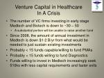 venture capital in healthcare in a crisis