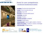 invest in core competences