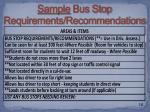sample bus stop requirements recommendations