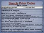 sample driver duties