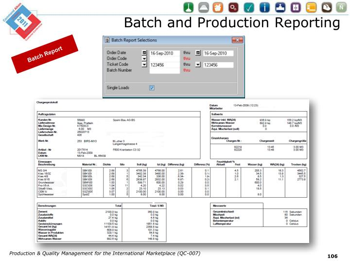 Batch and Production Reporting