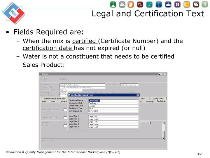 Legal and Certification Text