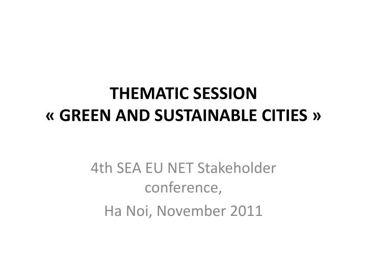 thematic session green and sustainable cities n.