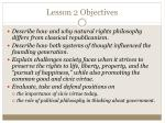 lesson 2 objectives