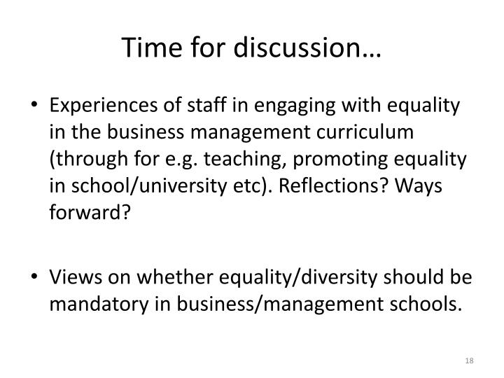 a discussion on the issue of equality in education Webinar: women's empowerment, gender equality and the role of applied education and skills training.
