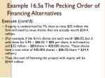 example 16 5a the pecking order of financing alternatives3