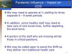 pandemic influenza impact on cos