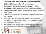 background and purpose of panel session