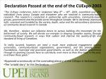 declaration passed at the end of the cuexpo 2003