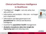clinical and business intelligence in healthcare