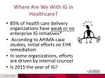 where are we with ig in healthcare