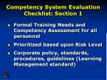 competency system evaluation checklist section 1