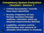 competency system evaluation checklist section 7
