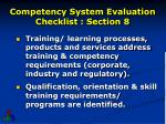 competency system evaluation checklist section 8