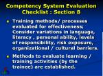 competency system evaluation checklist section 81