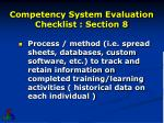 competency system evaluation checklist section 83