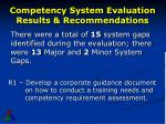 competency system evaluation results recommendations