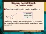 constant normal growth the gordon model