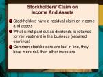 stockholders claim on income and assets
